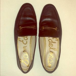 Black and gold leather Sam Edelman loafers size 9.